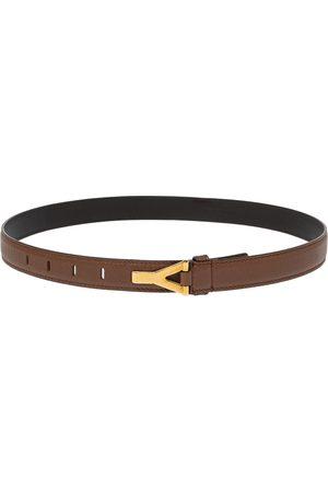 Saint Laurent Leather Y Buckle Belt 80CM