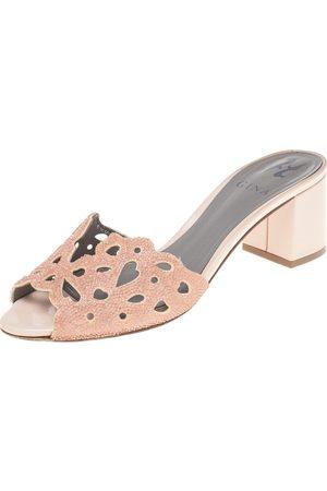 Gina Laser Cut Leather Crystal Embellished Block Heel Slide Sandals Size 38
