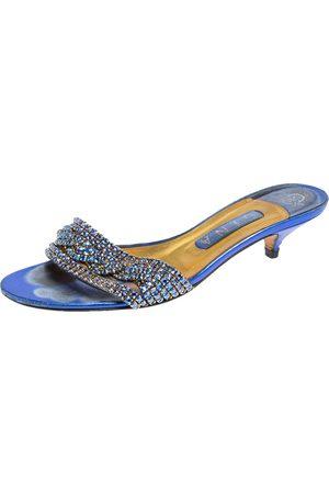 Gina Blue Leather Crystal Embellished Kitten Heel Slides Sandals Size 38.5