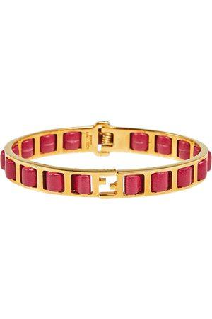 Fendi Gold Tone Leather The sta Bracelet L