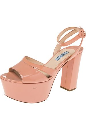 Prada Patent Leather Ankle Strap Block Heel Platform Sandals Size 37