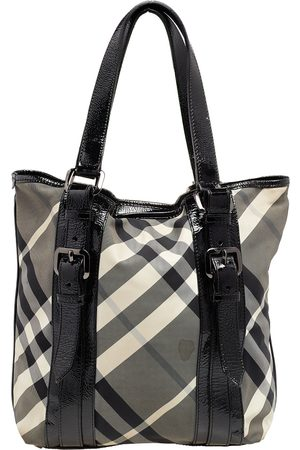 Burberry Beat Check Nylon And Patent Leather Victoria Tote