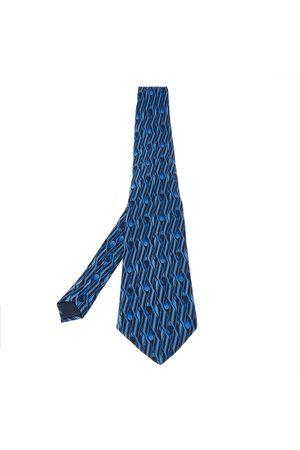 Lanvin Navy Geometric Paisley Print Traditional Silk Tie