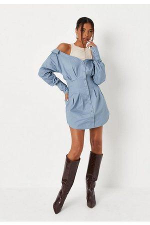Missguided Rib Layer Cold Shoulder Poplin Shirt Dress
