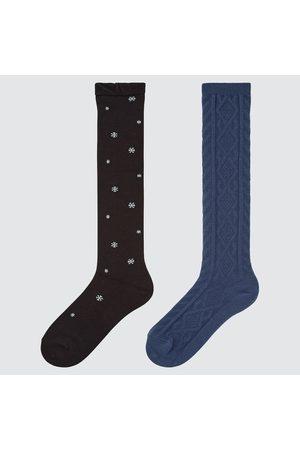 UNIQLO Girl's HEATTECH Knee-high Socks (2 Pairs), , 19-21cm