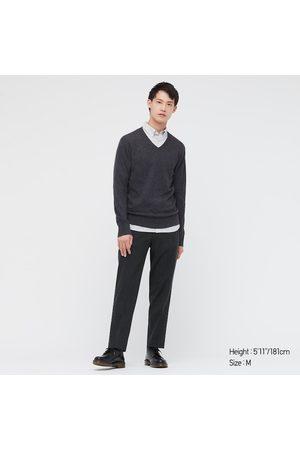 UNIQLO Men's Cashmere V-Neck Long-Sleeve Sweater, Gray, XXS