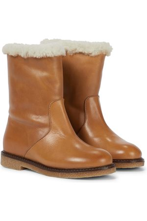 BONPOINT Shearling-trimmed leather boots