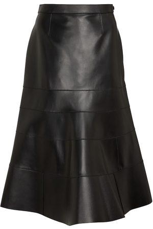 Loewe Godet flared leather skirt