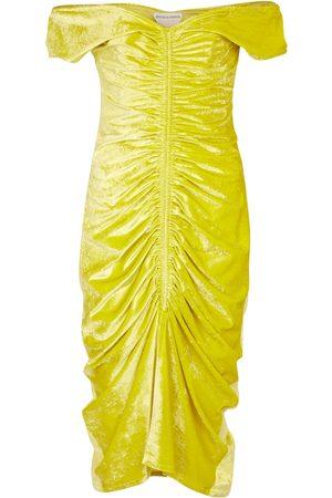 Bottega Veneta Off-shoulder stretch-velvet midi dress