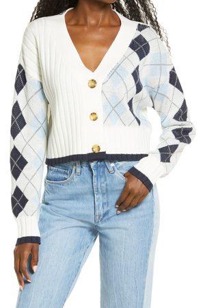 BP. Women's Argyle Ribbed Crop Cotton Blend Cardigan