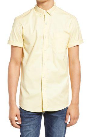 Topman Men's Solid Stretch Short Sleeve Button-Down Shirt