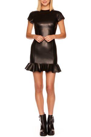 Susana Monaco Women's Faux Leather Ruffle Minidress