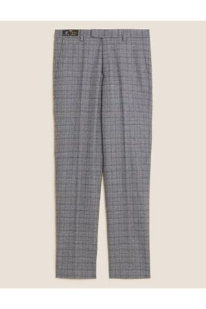 Marks & Spencer Slim Fit Italian Wool Check Trousers