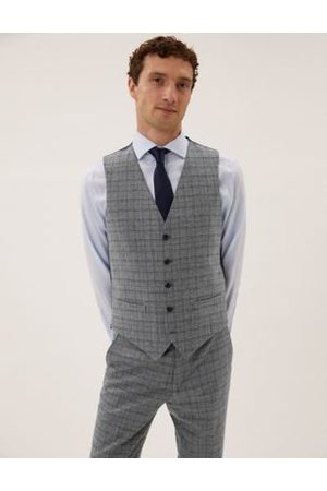 Marks & Spencer Men Waistcoats - Wool Blend Check Waistcoat