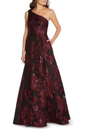 Aidan Mattox Floral Jacquard One Shoulder Gown