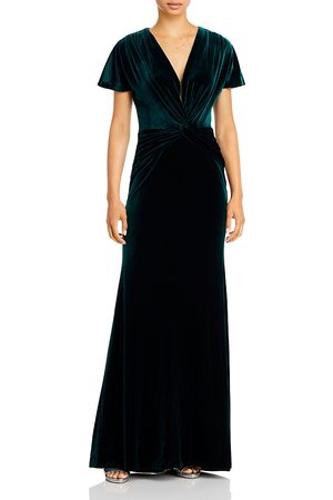 Aqua V Neck Velvet Gown - 100% Exclusive
