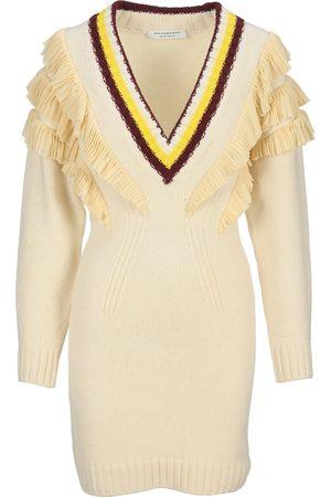 Philosophy Women Knitted Dresses - Ruffled V-neck knit dress