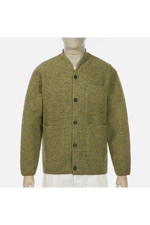 Universal Works Wool Fleece Light Olive Cardigan