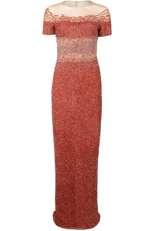 Pamella Roland Coral Ombre Sequin Embroidered Gown