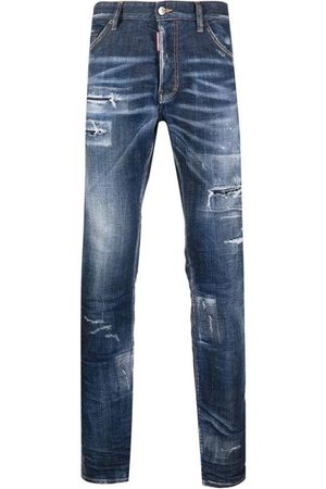Dsquared2 Men's Navy distressed bootcut jeans