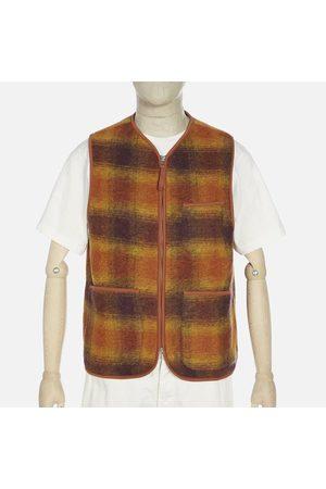 Universal Works Men Fleece Jackets - Checked Wool Fleece /Claret Zip Gilet