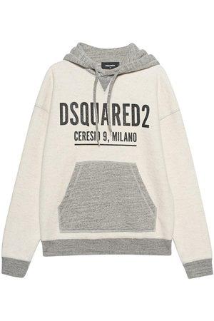 Dsquared2 Men's Grey Printed oversize fleece hoodie