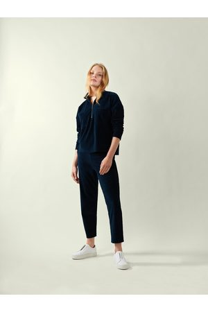Great Plains Jersey Heavy Cord Trousers-Navy