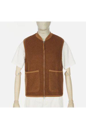 Universal Works Wool Fleece Rust Zip Waistcoat