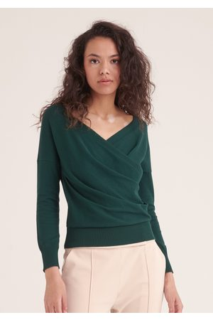 Paisie Women Wrap tops - Knitted Wrap Top with Long Sleeves