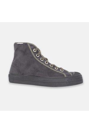 Novesta Men Casual Shoes - Star Dribble Hi-Top Plimsoll - Dark Grey Cord