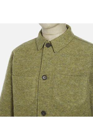 Universal Works Men Fleece Jackets - Wool Fleece Light Olive Lumber Jacket