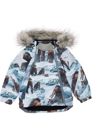 Molo Boys Puffer Jackets - Animals Print Puffer Ski Jacket W/ Fur