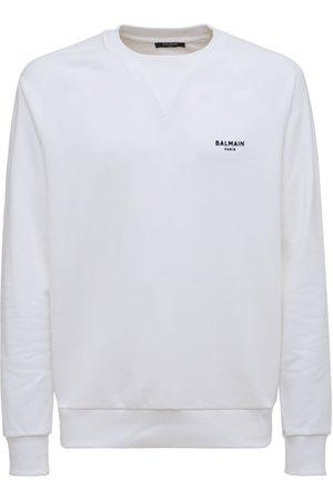 Balmain Men Sweatshirts - Flocked Logo Organic Cotton Sweatshirt