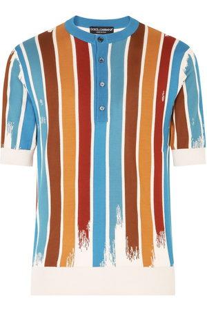Dolce & Gabbana Men Polo Shirts - Vertical-stripe collarless polo shirt
