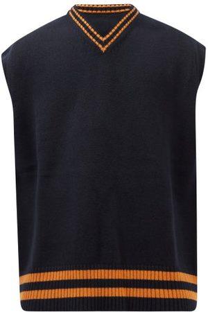 Maison Margiela Men Tank Tops - V-neck Wool Sweater Vest - Mens - Navy