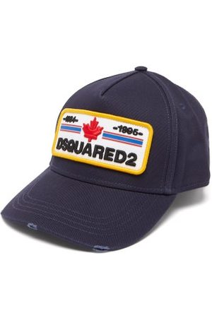 Dsquared2 Logo-patch Distressed Cotton-canvas Baseball Cap - Mens - Navy