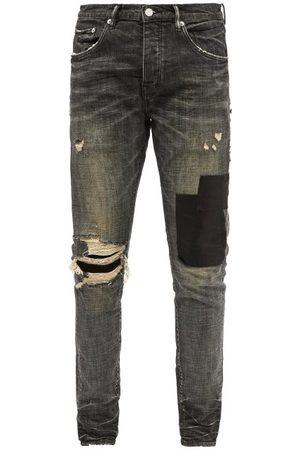 Purple Brand P001 Distressed Garment-dyed Slim-leg Jeans - Mens - Grey