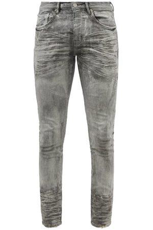 Purple Brand P001 Distressed Waxed Slim-leg Jeans - Mens - Grey