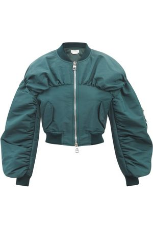 Alexander McQueen Cropped Gathered-faille Bomber Jacket - Womens