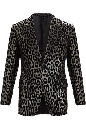 Tom Ford Leopard-flocked Lamé Blazer - Mens - Multi