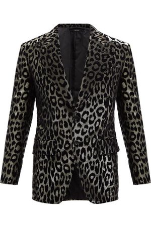 Tom Ford Men Blazers - Leopard-flocked Lamé Blazer - Mens - Multi