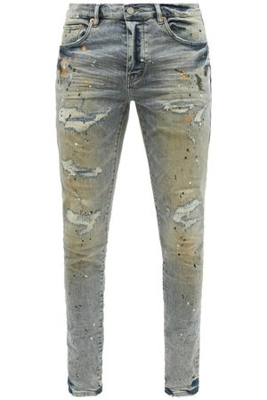 Purple Brand Men Slim - P001 Distressed Garment-dyed Slim-leg Jeans - Mens