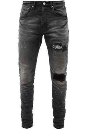 Purple Brand P002 Paisley-patch Distressed Skinny-leg Jeans - Mens
