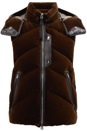 Tom Ford Leather-trimmed Velvet Quilted-down Gilet - Mens