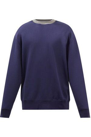 Acne Studios Men Sports Hoodies - Logo-jacquard Jersey Sweatshirt - Mens - Indigo