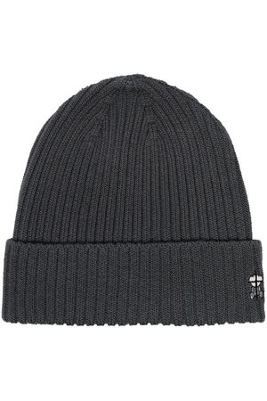 UNDERCOVER Embroidered logo ribbed beanie - Grey