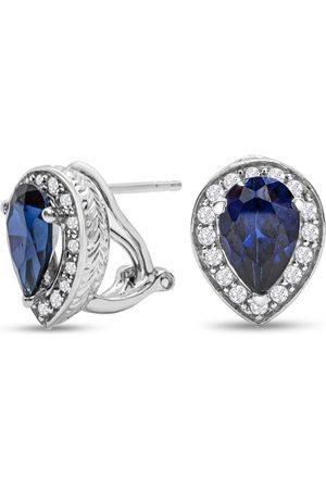 SuperJeweler 3 Carat Created Sapphire & CZ Stud Earrings in Sterling by