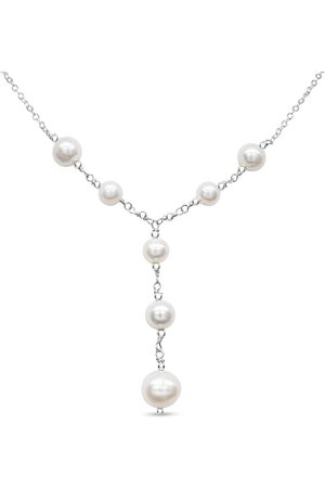 SuperJeweler Women Necklaces - Freshwater Cultured Pearl Y Necklace in Sterling