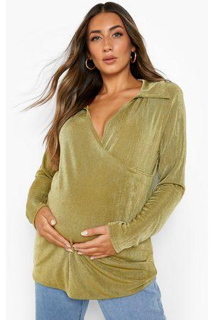 Boohoo Womens Maternity Wrap Longline Shirt - - 4