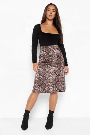 Boohoo Womens Split Side Snake Print Satin Midi Skirt - - 2